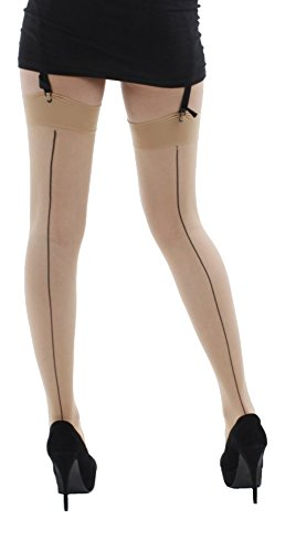 Pamela Mann Jive Seamed Stockings (One Size, Red/Nude)