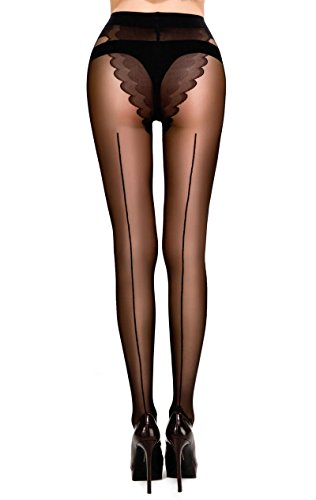 MERYLURE Sheer Back Seam Pantyhose Reinforced Crotch Tights for Women (Large, Black)