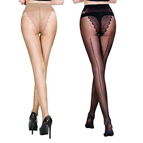 FANCMAE Women's Sheer Control Top Tights Back Seam Compression Pantyhose Socks 2 Pack (Medium, Black + Nude)