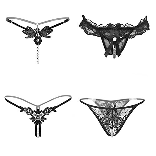 Nightaste Women's Black Charming Thong Lingerie Lace G-string T-back Panties(4 Styles/pack) (L)
