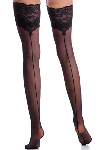 Women's Sexy Back Seamed Thigh High Lace Top Stay Up Stockings Nylons Silicone Band