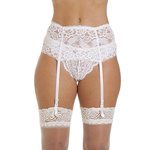 Sbra Women's 4-Strap Wide Lace Suspender Belt White One Size