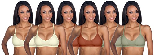 Anemone Women's Seamless V-Neck Padded Bralette with Adjustable Straps – Ivory Rust Light Taupe (6 Pack)