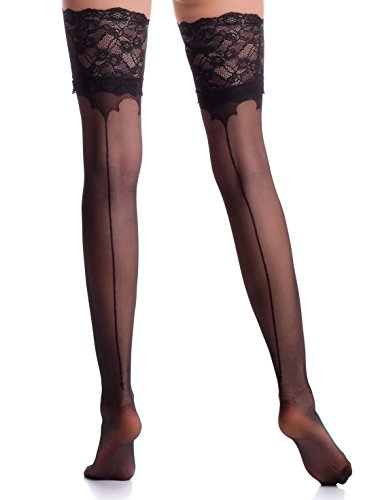 Thigh High Stockings Back Seamed Stay Up Nylons Hosiery Lace Top Silicone Band