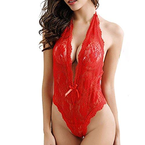 Hot Sale! Women Sexy Halter Lingerie Teddy Bodysuit Deep V Neck Crotchless Babydoll Nightwear (M, Red)
