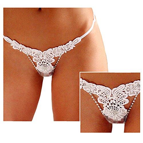 Womens Diamond T Back White Wet Panties Embroidery Thongs Metal Lace Tanga Panty