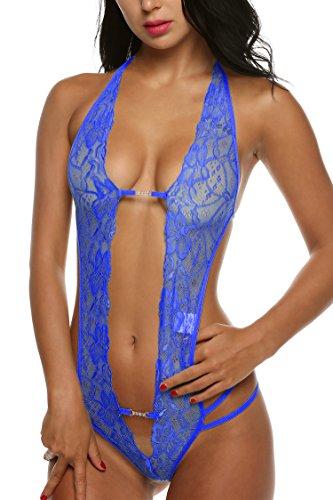 Avidlove Women Deep V Halter Lingerie Lace Babydoll Mini Bodysuit Dark Blue M