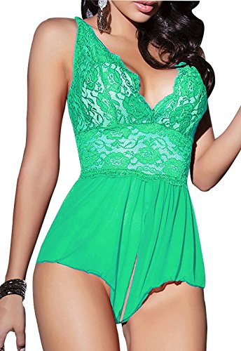 Rainlover Women's Sexy Sheer Babydoll Lace Teddy Lingerie One-piece Bodysuit (XXXX-Large, Green)