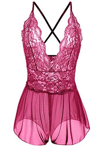 Avidlove Women Lingerie Lace Babydoll One Piece Jumpsuit Pant Dress (L = US M, Rose Red)