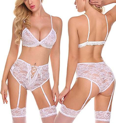 Avidlove Women Sexy Lingerie Lace Babydoll Bodysuit Bralette Bra and Panty Set White XXL