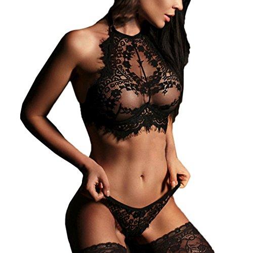 Vovotrade Women Sexy Halter Lingerie Lace Flowers Push Up Top Bra Pants Solid Underwear Set Sleepwear (Black, S)