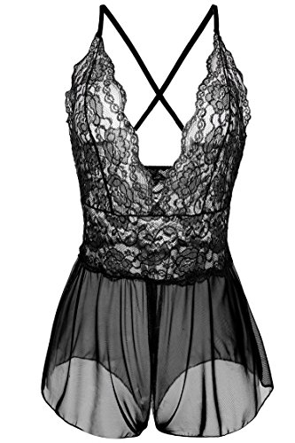 Avidlove Women Sexy Lingerie Lace See-through Babydoll Open Crotch Pant Dress (XXL = US XL, Black (FBA))