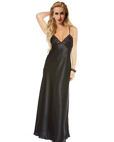 ETAOLINE Women Satin Nightgown Lace Lingerie Trimmed Full Length Slip Dress – Plus Size
