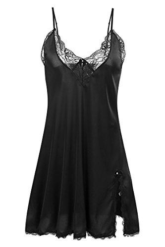 Ekouaer Women's Satin Lace Trim Slip Chemise Night Gown,Black,XXL