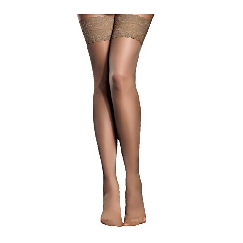 Women's Thigh High Stockings with Silicone Lace Top Sexy Silk Sheer Pantyhose 2 Pack by Habiter,Skin,One Size