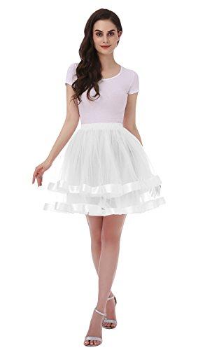 Tsygirls Women's 1950s Hoopless Tutu Short Petticoat Skirt Crinoline Underskirt Slip White Size S-M