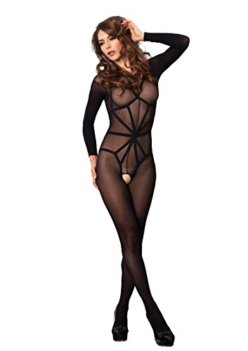 Leg Avenue Women's 2 Piece Opaque Long Sleeve Bodystocking with Harness Teddy Overlay, Black, One Size