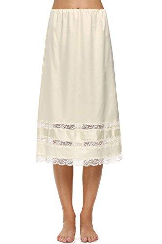 Avidlove Women Lingerie Satin Lace Pettipants Snip it Culottes Slips Bloomers Split Skirt, Beige, Large