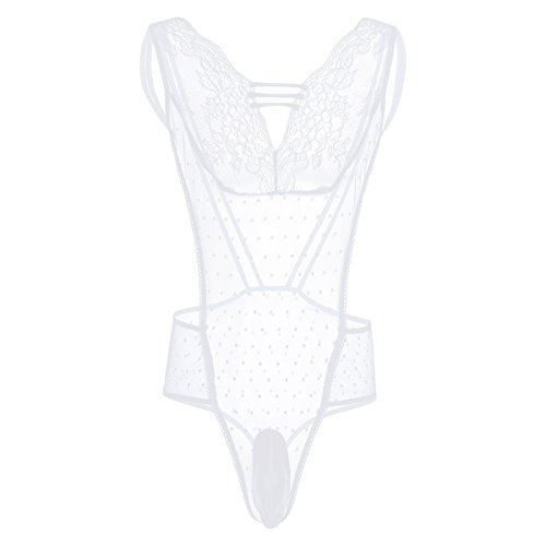 CHICTRY Men's Sexy Sheer See Through Mesh Jumpsuit Lingerie White X-Large