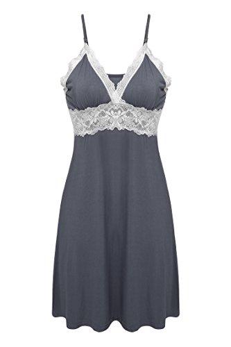 Ekouaer Nightdress Women's Lace Chemise, Gray, Large