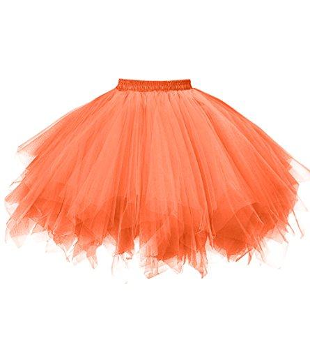 Dresstore Women's Short Vintage Petticoat Skirt Ballet Bubble Tutu Multi-colored Bright Orange XXL