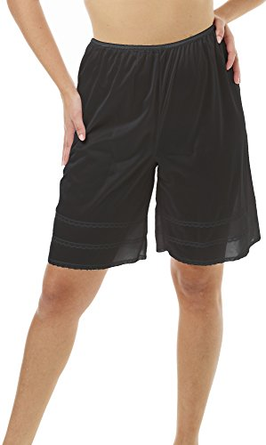 Underworks Snip-A-Length Pettipants Culotte Slip Bloomers Split Skirt 3x-large-Black