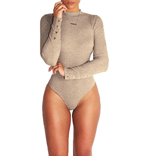 BlueSpace Womens Jumpsuit Sexy Bodysuit Lingerie with Stretch Long Sleeve Basic Sweater,Khaki