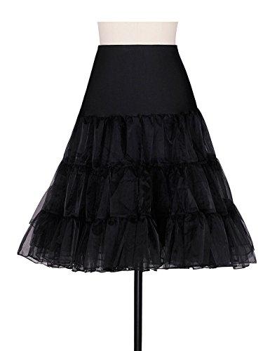 ADAMARIS Half Slips For Under Dresses Crinoline Underskirt Women's Petticoat Vintage Dresses Plus Size,Black,Large
