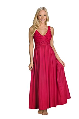 Shadowline Women's Silhouette 53 Inch Sleeveless Long Gown, Red, Large