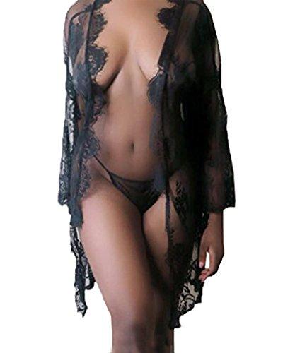 Cathery Women Sexy Lace Dress G-string Lingerie Sheer Babydoll Sleepwear Nightdress Robe (XL, Black 2#)