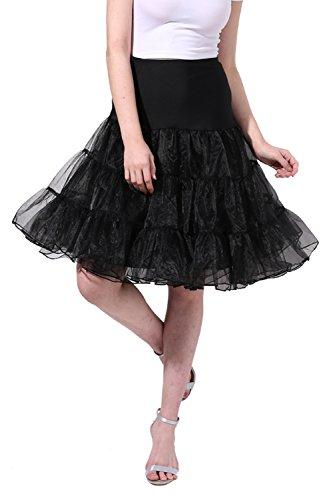 Poplarboy Women's Vintage Rockabilly Petticoat Skirt Tull 1950s Underskirt Size L-XL Black
