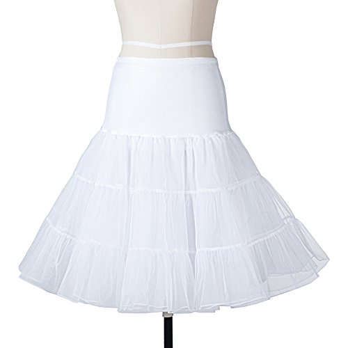 VERSILU 1950s Short Tutu Vintage Petticoat Crinoline Underskirt Wedding Dress Skirt Slips, Ivory, Small