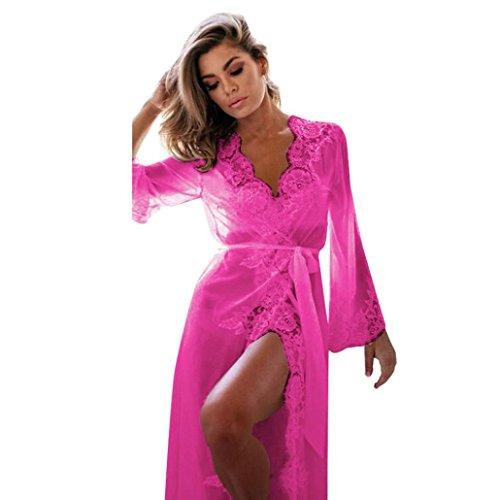 Lingerie Women, Todaies Women Sexy Lace Lingerie Set Lace Ladies Sleepwear Nightgown Plus size (L, Hot Pink)