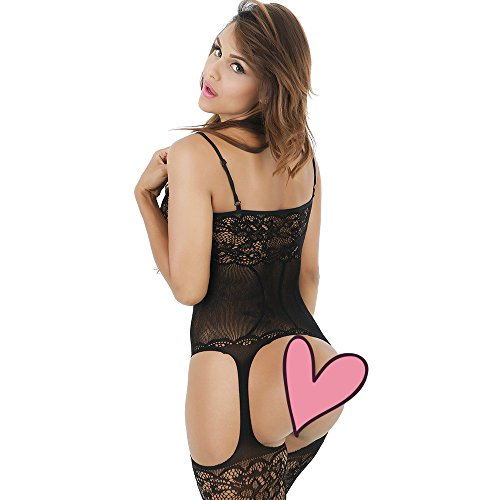 DivaCat Bodystocking Fishnet Crotchless Lingerie Sexy Floral Stretchy Bodysuit Tights One Size (Black)