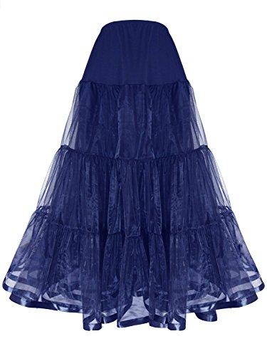 Shimaly Women's Floor Length Wedding Petticoat Long Underskirt for Formal Dress (L-XL, Navy Blue)