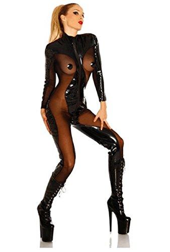 Lorembelle Sexy Lingerie Pvc Latex Bodysuit Sheer Catsuit Open Cup Costume Plus Size S- XL (XXL /US 8, black)