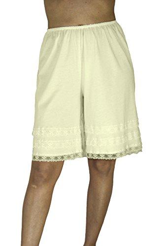 Underworks Cotton Knit Snip-A-Length Pettipants Culotte Slip Bloomers Split Skirt Medium-Beige