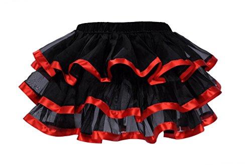 Lotsyle Mutli-Layer Tutu Ruffle Petticoat Skirt Corset Skirt-Red S/M