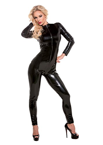 Allure Lingerie Women's Second Skin Super Sexy Wet Look Whiplash Catsuit, Black, Large/X-Large