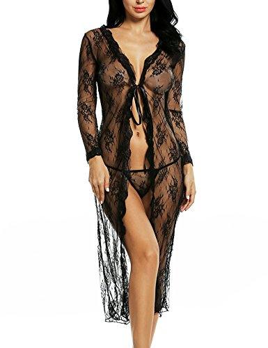 Avidlove Women Long Sleeve Dress Lace Sexy Lingerie Robe Sheer With G-String Set,Black,S=US S(6)
