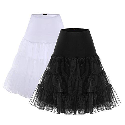 BAOMOSI Women's 50s Vintage Petticoat Skirts Crinoline Tutu Underskirts 2PACK L