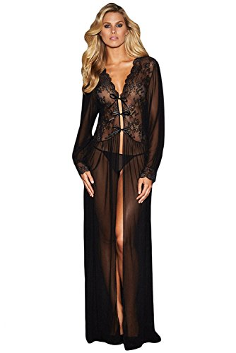 Lacoco Sheer Long Sleeve Lace Robe with Thong Sexy Lingerie for Women for Sex Lace Lingerie Set Sleepwear