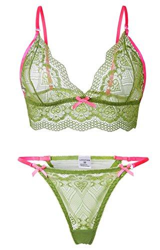 LamourLove Sexy Lingerie for Women for Sex lace bra set Babydoll Sleepwear Strap Bustier Underwear Suit, Green(Large)