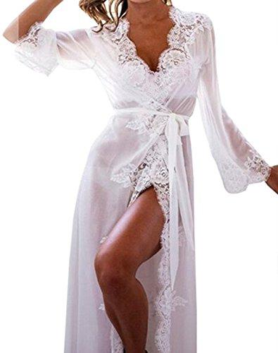 Rui Wen Women's Sexy Lace Lingerie Long Robe Babydoll Nightwear Dress Sleepwear Underwear (XL, White)