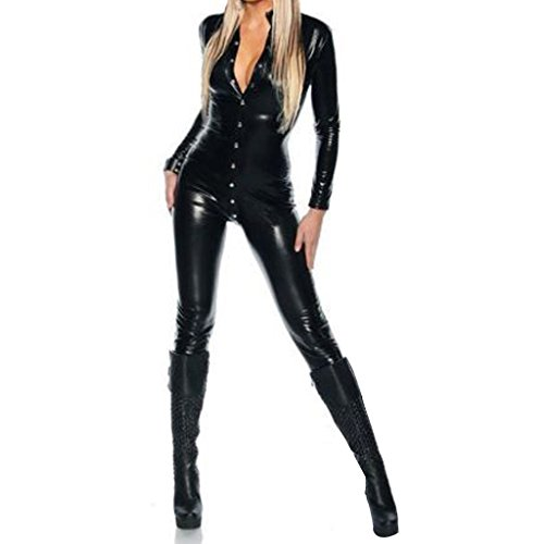 Colorful House Women's Costume Lingerie Front Zipper Wet Look Romper Catsuit (One-size, Black(Style 2)