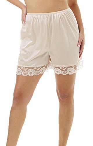 Underworks Pettipants Nylon Culotte Slip Bloomers Split Skirt 4-inch Inseam 3-Pack Medium-Beige