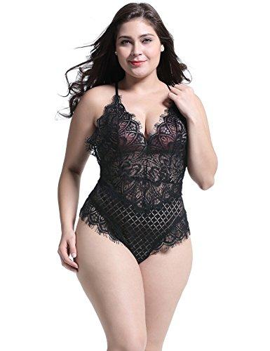 Anyou Plus Size Teddy Lingerie for Ladies Sexy V Neck Sleeveless Bodysuit Black X-Large