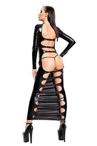 LAFIZZLE Sexy Lingerie Plus Size Pvc Black Woman Bandage Latex Bodysuit Catsuit Dress