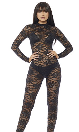 Forplay Women's Lace Mock Neck Catsuit with Zipper Closure, Black, Large/X-Large