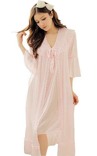 Camellia12 Fantastic Satin Robe Set Lace Chemise Full Slips with Victorian Robe